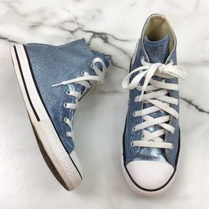 Converse All Star Blue Glitter High Top Sneakers